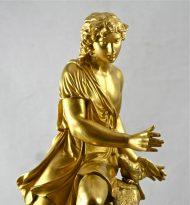 Bronze doré Jeune homme au chien