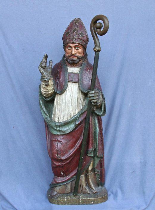 évêque en bois polychrome XVIIIème