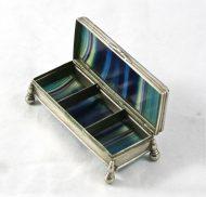 Boîte XIXème en agate bleue
