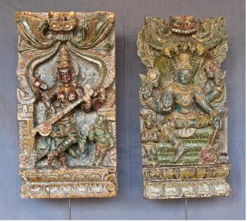 Paire de panneaux de char de procession indien XIXème
