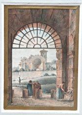 Aquarelle Paysage animé XVIIIème Jean-Victor NICOLLE
