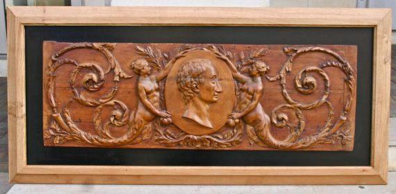 bois sculpté XVIIIème représentant Montesquieu
