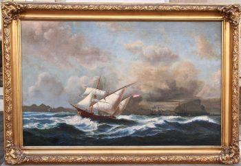 huile sur toile le détroit de Gibraltar XIXème