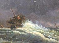 Paire de peintures marine et naufrage de Clémentine de BAR