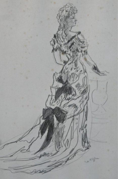 dessin jeune femme en tenue de soirée de Charles Kiffer